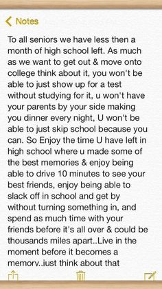 Enjoy ur high school days because one day you will ofc missed a memorable moment The Words, Best Friend Poems, High School Quotes, High School Graduation Quotes, Senior Year Of High School, Middle School, Senior Year Quotes, Graduation Speech, Mood Quotes