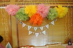 Banner with wooden flags! Made by Katie!  www.pickyourplum.com