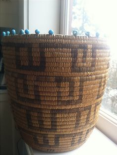 antique Pima Native American basket beaded with turquoise padre beads (also called trade beads or seed beads). Native American Baskets, Native American Beauty, Native American Artifacts, American Indian Art, Native American Tribes, Native American History, Native Americans, Native Indian, Native Art