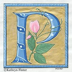 """""""P"""" ~ Letterform inspired by 16th century French manuscript."""
