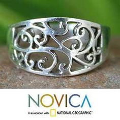 @Overstock - Handcrafted openwork ring Sterling silver jewelryClick here for ring sizing guidehttp://www.overstock.com/Worldstock-Fair-Trade/Sterling-Silver-Arabesque-Handcrafted-Ring-Thailand/5504348/product.html?CID=214117 $26.99