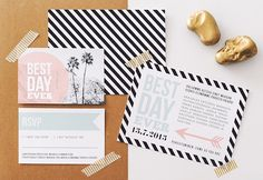 Palm Springs themed wedding invitation suite   @Michaela   Hey Look   see more on: http://burnettsboards.com/2014/04/urban-summer-wedding/ #weddinginvitations #palmsprings