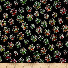 Designed by Dan Miller for Quilting Treasures this cotton print features allover paw prints. Perfect for apparel, quilting and home decor accents. Colors include black, grey, purple, dark turquoise, ruby, kelly green, red, magenta, green, light blue and yellow.