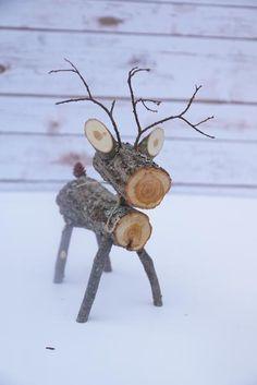 These adorable wood log deer are perfect for your fall and winter decor. Each one is completely handmade from dried logs, sticks and branches from northern MN. They are approx 12 tall and 7 long. Elegant Christmas Decor, Christmas Wood Crafts, Outdoor Christmas, Christmas Projects, Holiday Crafts, Christmas Diy, Christmas Decorations, Wood Reindeer, Reindeer Craft