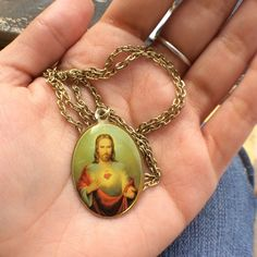 Necklace Beautiful Jesus Necklace. Chain is 10inches long. Jewelry Necklaces