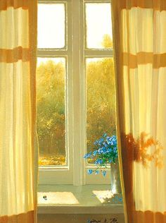 Who cares about the view outside the window when there are sunny yellow curtains and blue flowers inside the window!