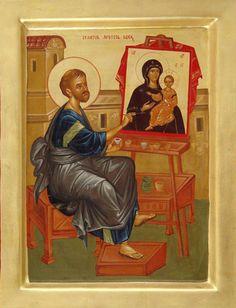 "St Luke - Iconographer - writing the first Icon  / Romanian ___ by Elena Murariu "" icons Saints"