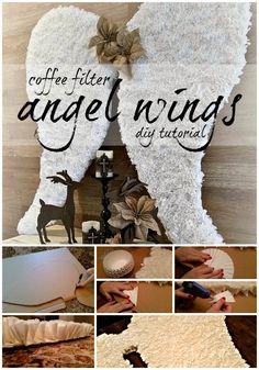 Coffee Filter Angel Wings Tutorial via Curb Alert! Blog http://www.curbalertblog.com/2014/03/ballard-design-knockoff-clam-shell.html