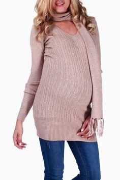 Mocha Cable Knit Maternity Sweater W/ Scarf #maternity #fashion