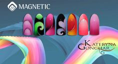 Gelpolish Designs with Magnetic Ombre Brush by Kateryna Gonchar
