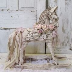 Wooden rocking horse painted white distressed shabby cottage chic antique ornate French farmhouse home decor anita spero design Let me first