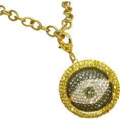 "Evil Eye Vintage Designer Signed RhinestonON SALE NOW at ""Vintage Jewelry Stars"" shop at http://www.rubylane.com/shop/vintagejewelrystars !!e Pendant Drop Necklace."