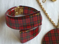 Vtg Red PLAID Lucite Bracelet Pendant Earrings by OldEstateJewelry