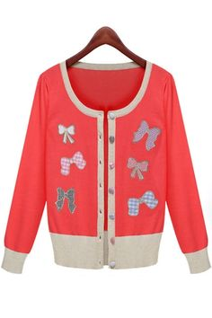 Female-Chic Bow-Trim Cardigan