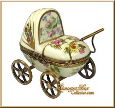 Floral Baby Carriage Limoges Box (Rochard)