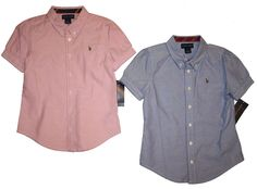 NWT Ralph Lauren Polo Girls Cotton Striped Undercollar Oxford Short Sleeve Shirt #RalphLauren #Everyday