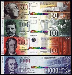 Finland banknotes, Finland paper money catalog and Finnish currency history Money Worksheets, Money Notes, Map Pictures, Money Bank, Lappland, Oldenburg, How To Get Money, Finance, Coins