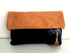 women leather clutch, purse,wristlet, wallet, black & camel brown color. $78.00, via Etsy.