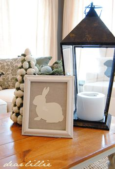 Bunny paper cutout by dear lillie - so right on for Easter - note use of lanterns and shorter candles - not a bad thought Easter Table, Easter Party, Hoppy Easter, Easter Bunny, Easter Crafts, Easter Decor, Easter Ideas, Dear Lillie, Framed Chalkboard