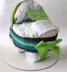 Owl Baby Shower Bassinet Diaper Cake by DiaperCakeBoutique on Etsy.