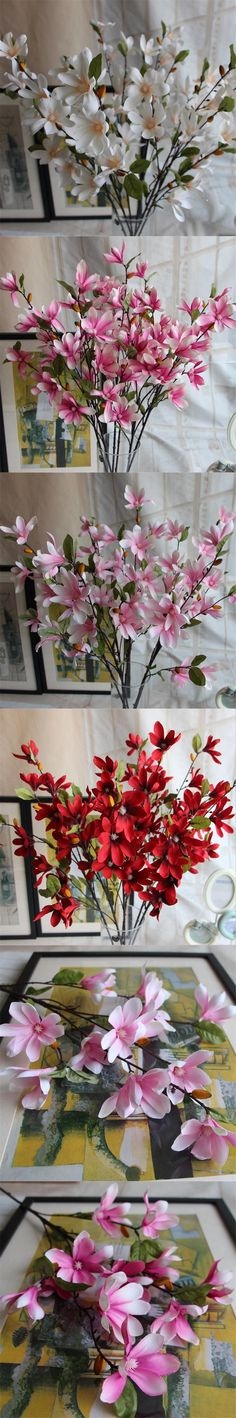 Gnw fl ma100 12 9cm wholesale artificial flowers silk artificial silk spring magnolia flower 90cm3543 length artificial flowers magnolias 5 stems for home mightylinksfo