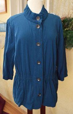 CJ Banks Stretch Drawstring Elastic Waist Shirt 1X Party Cute Comfy Wear w/Jeans #CJBanks #ButtonDownShirt #Casual