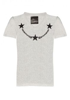 Philipp Plein - 'Bay Leaves' T-Shirt Grey | V-neck tee with embroidered stars on the front. Wear this basic tee with a blazer, a pair of jeans and your favourite sneakers.