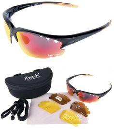 Herren/Damen Schwarze Polarisierte GOLF BRILLE: Sportbrille mit Wechselgläser aw1nBo1