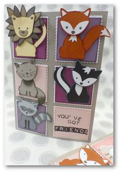 Coul'Heure Paper: Magic Map Small z'amis [Tutorial] + offers Stampin 'Up! Kids Birthday Cards, Handmade Birthday Cards, Foxy Friends Punch, Art Carte, Punch Art Cards, Hand Made Greeting Cards, Stampinup, Get Well Cards, Animal Cards