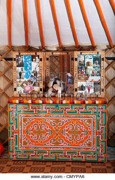 Mongolian Ger (yurt) inside decoration furniture with photographs, Mongolia - Stock Image Mongolian Ger, Yurt Interior, Lanscape Design, Side Table Makeover, Interior Design Sketches, Wallpaper Backgrounds, Painted Furniture, Hand Painted, Stock Photos