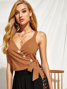 To find out about the Buttoned Front Wrap Tie Side Tank Top at SHEIN, part of our latest Tank Tops & Camis ready to shop online today! Pop Fashion, Fashion News, Fashion Styles, Fashion Black, Vintage Fashion, Classy Outfits, Casual Outfits, Cami Tops, Camisole Top