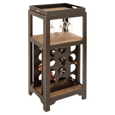 Wood Tabletop Wine Cabinet. Features A Bottle Rack, Stemware Holder, And  Removable Tray