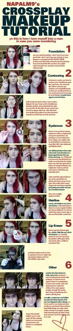 Crossplay Makeup Tutorial by *Napalm9 on deviantART. Okay the bottom left picture on step 6 looks like she was cosplaying Frodo!!! Just add curly hair!!!!!!