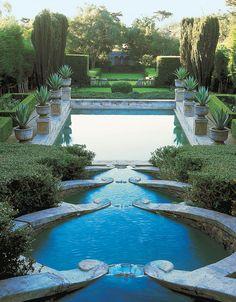 Cascading pools the Las Tejas estate in Santa Barbara, CA designed by George Washington Smith