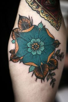 flower tattoo by alice carrier at anatomy tattoo in portland, oregon #tattoos (love these colors)