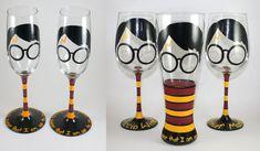 Harry Potter Wizard Boy Spells Wine Glass by TheTattooedButterfly