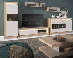 Tv wall unit with led lights 2 drawer riviera oak and white high gloss cabinet including led lighting Coffee Table With Wheels, Oak Coffee Table, Coffee Table Design, Shelf Furniture, Dining Room Furniture, Home Furniture, Furniture Sets, Lyon, Open Shelving