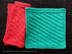 Diagonal Knitted Dishcloth Pattern. Free