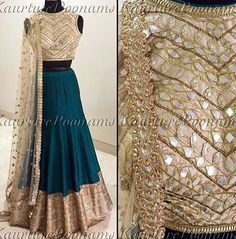 Green % gold lengha - Poonam's Kauture