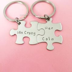 Valentines Day Gift, His Crazy Her Calm, Couples Keychains, anniversary gift, puzzle pieces Couple Tat, Couple Stuff, Couple Things, Wedding Anniversary Gifts, Anniversary Ideas, Puzzle Pieces, Couple Gifts, Valentine Day Gifts, Valentines Ideas For Her