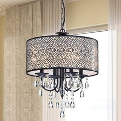 Antique Bronze 4-light Round Crystal Chandelier - Overstock Shopping - Great Deals on The Lighting Store Chandeliers & Pendants
