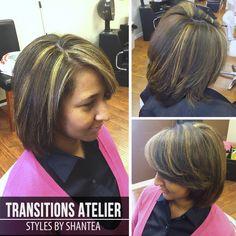 Gold & brown highlights. Basic layered cut.