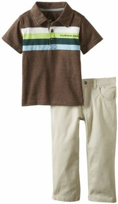 Calvin Klein Boys 2-7 Polo with Khaki Pants Toddler, Brown, 3T Polo top. Pants.