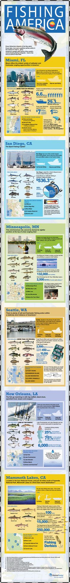 The best fishing spots in America Infographic. These freshwater and saltwater fishing spots lure in anglers from all over the world. Find out why they're such a Destin Fishing, Sea Fishing, Gone Fishing, Saltwater Fishing, Kayak Fishing, Fishing Stuff, Sport Fishing, Fishing Rods, Fishing For Beginners
