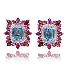 Blue Topaz and Rhodolite combo,cant get better. Blue Topaz, Sapphire, Bling, Jewellery, Earrings, Ear Rings, Jewels, Stud Earrings, Jewelry Shop