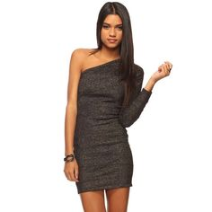 Forever 21 Black & Silver dress Never worn - new with tags. Price is firm. Tight fitting. Size M. Great for parties! Forever 21 Dresses One Shoulder