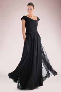 Ethereal Black Chiffon Mother of Bride Dress Featuring Asymmetrical Neckline and Applique