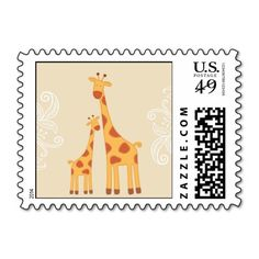 Baby Shower Postage Stamp | Mom and Baby Giraffe! Make your own stamps more personal to celebrate the arrival of a new baby. Just add your photos and words to this great design.