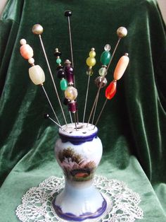 Antique Nippon Hand Painted Hat Pin Holder Includes 10 Hat Pins