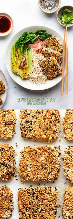 Sesame encrusted tofu steaks are easy to make, delicious and full of plant-protein. They will convert even the most committed tofu hater. Vegan and gluten-free. Tofu Recipes, Vegetable Recipes, Asian Recipes, Vegetarian Recipes, Dinner Recipes, Healthy Recipes, Easy Recipes, Tempeh, Tofu Steak